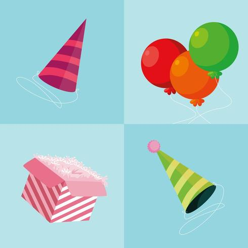 party hats with balloons and gift box vector