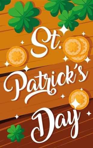 st patrick day with wooden pattern and coins vector