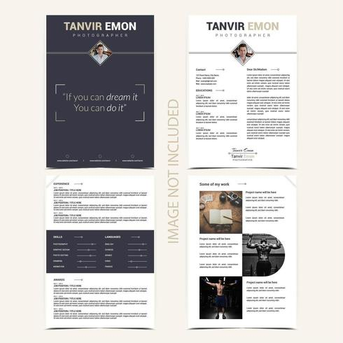 4 Page Resume CV Template vector