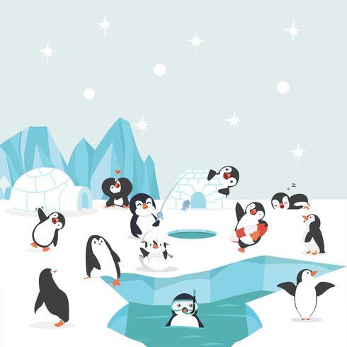 grupo de pingüinos en el polo norte realizando diferentes actividades vector