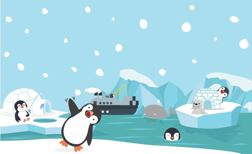 Panorama di animali del Polo Nord