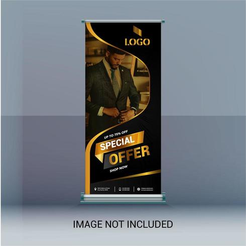 Roll Up Banner with Golden Swirl Frame for Image vector