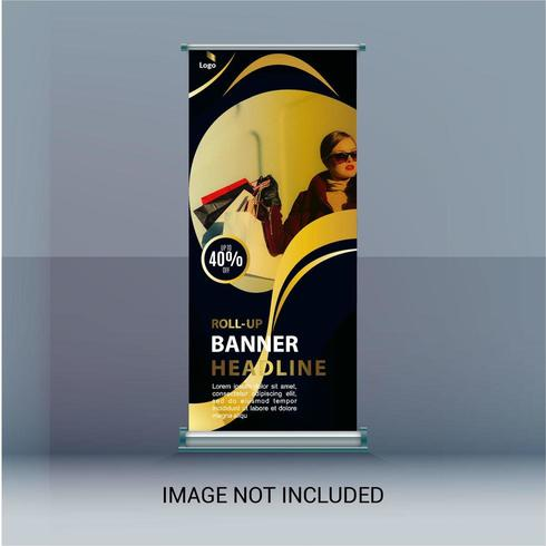 Roll Up Banner with Circular Frame for Image vector
