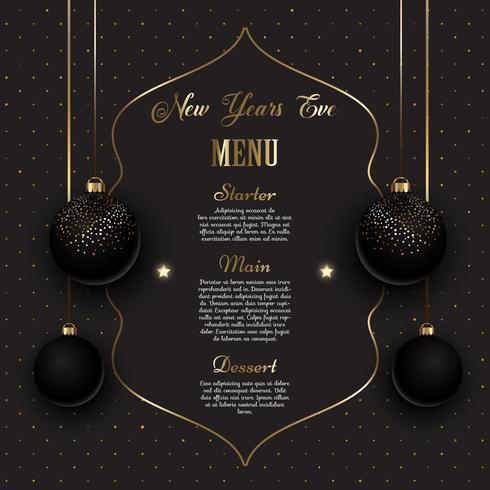 Design del menu di Capodanno nero e oro