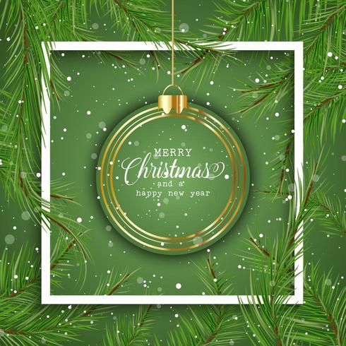 Christmas background with hanging bauble  vector