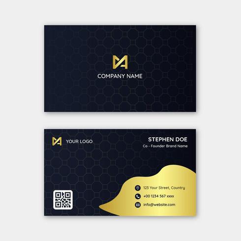 Modern dark gold business card template vector