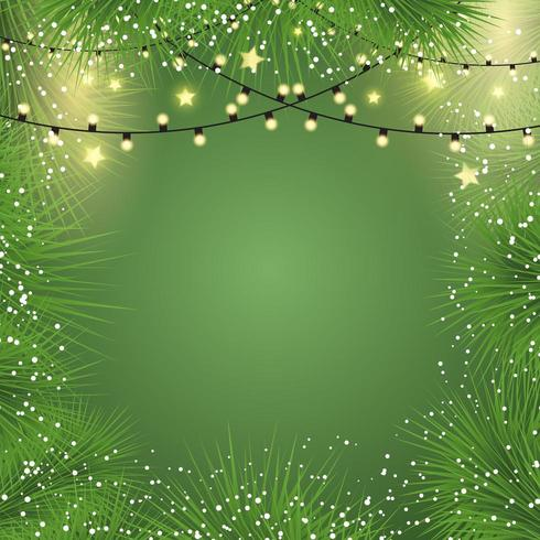 Christmas background with lights and fir tree branches  vector