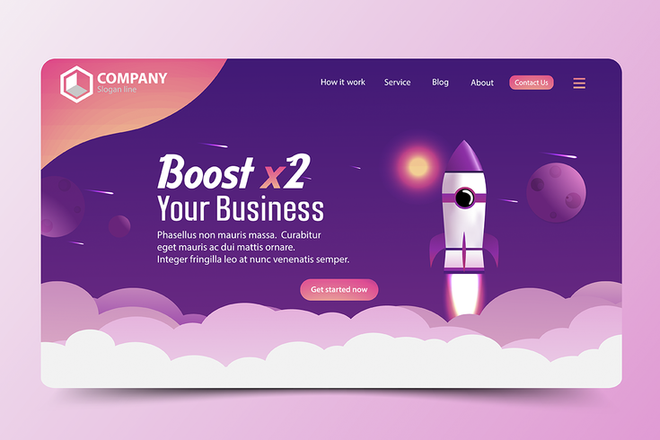 Boost Business Rocket Website Landing Page vector