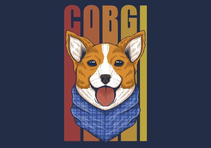 Corgi dog with bandana colorful design vector