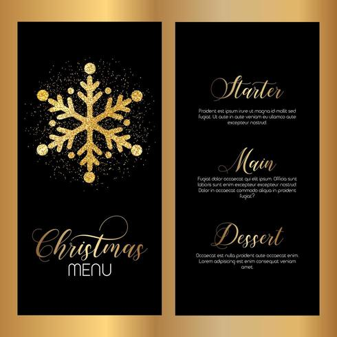 Christmas menu design with glittery snowflake design  vector