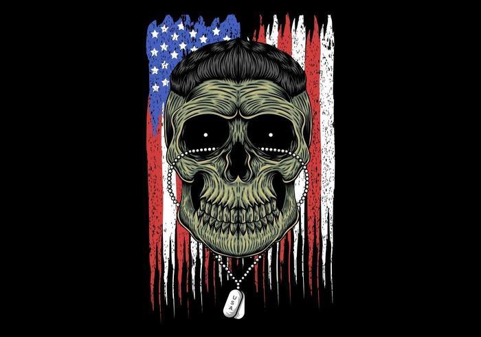 Cabeza del cráneo del ejército americano vector