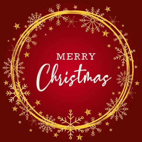 Beautiful merry christmas greating background in red and gold vector