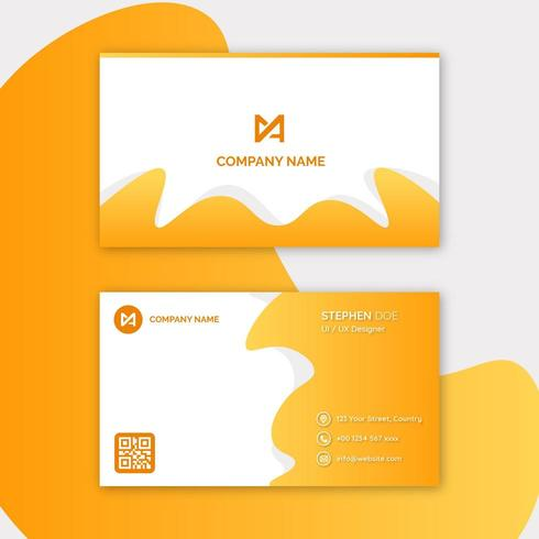Abstract yellow orange business card template vector