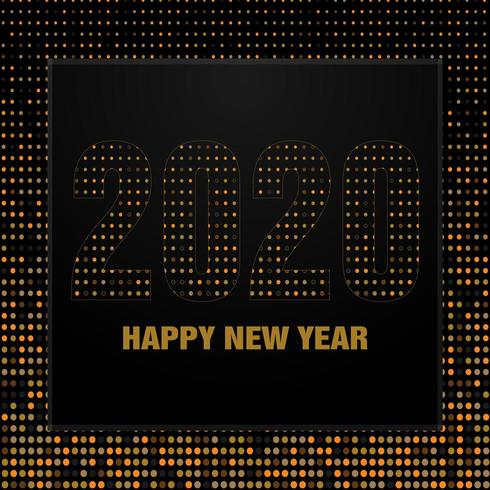 Minimal retro happy new year background in black vector