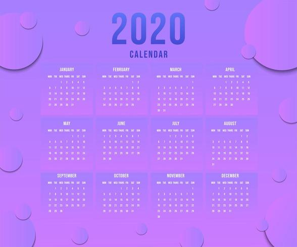 Simple New Year Calendar 2020 With Gradient Blue Pink vector