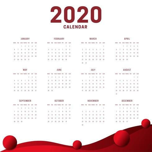 Minimal New Year Calendar 2020 White Red Background