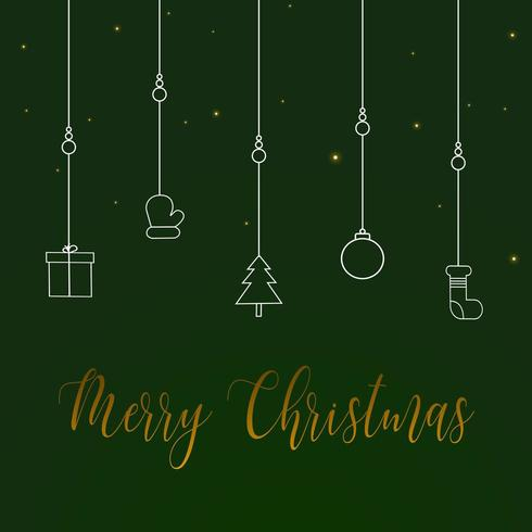Simple christmas background in green with greeting text vector