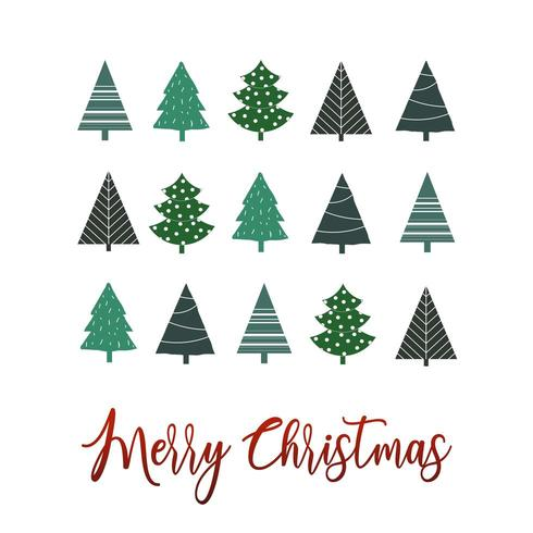 Simple christmas tree greeting background  vector