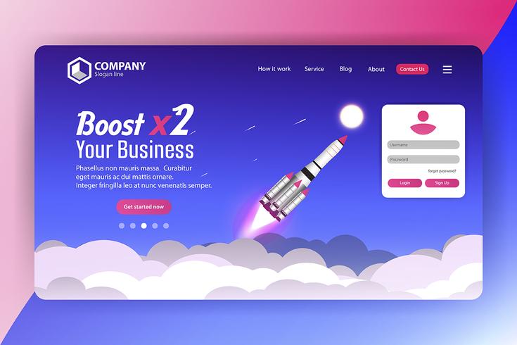 Boost Business Spaceship Página de inicio del sitio web con inicio de sesión vector