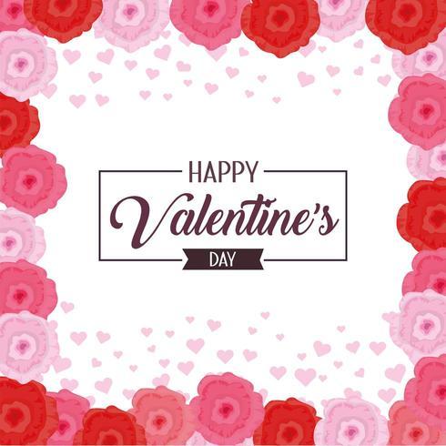 feliz celebración del día de san valentín con flores vector