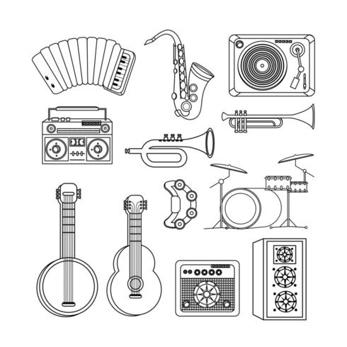 set professional instruments to play in the music event vector
