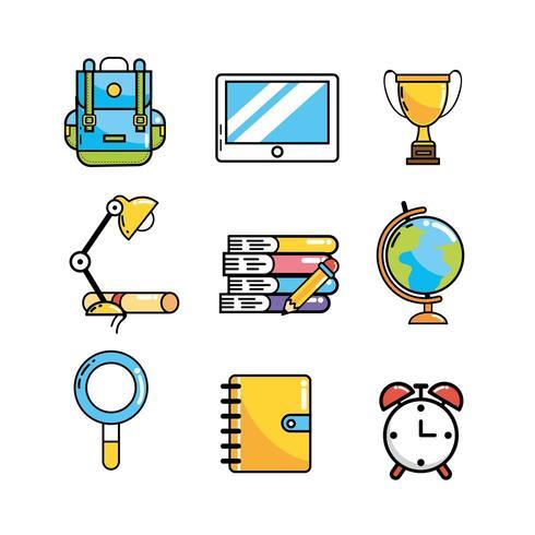establecer utensilios escolares creativos para el conocimiento vector