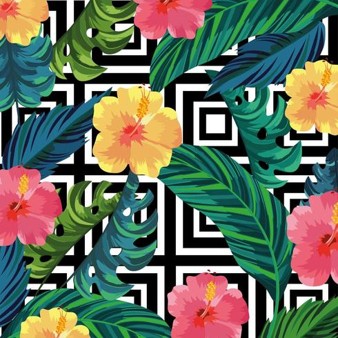 tropical flowers plants and leaves background vector