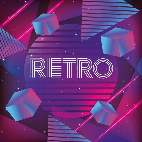 neon geometric texture and retro style vector