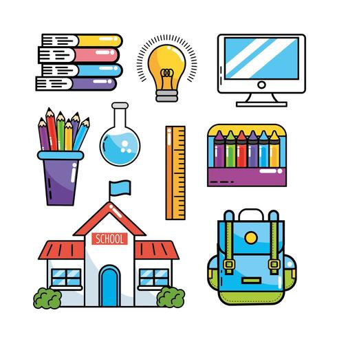 set school education supplies to study vector