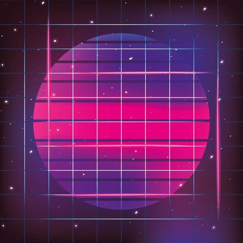 sol neón geométrico y estilo gráfico vector