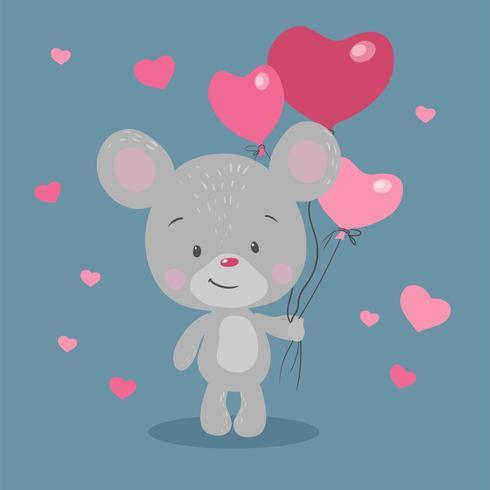 Ratón de dibujos animados con globos en forma de corazón vector