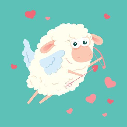 Dibujos animados ovejas Cupido con arco y flecha para el día de San Valentín vector