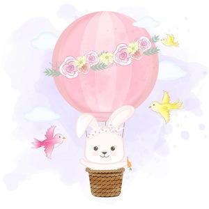 rabbit floating on hot air balloon  vector