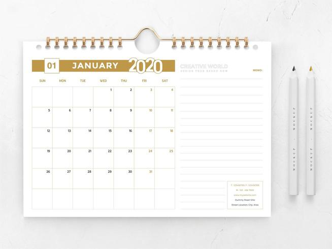 2020 gold and white calendar template vector