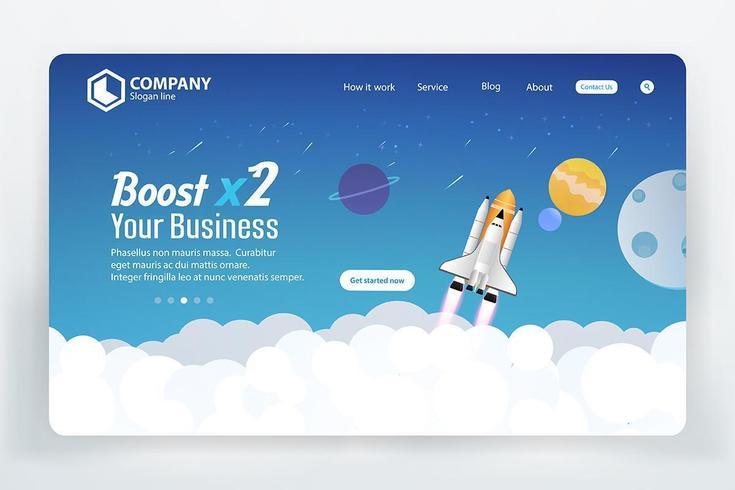 Website Ranking Landing Page mit Space Theme vektor