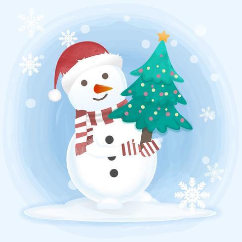 Muñeco de nieve con pino vector