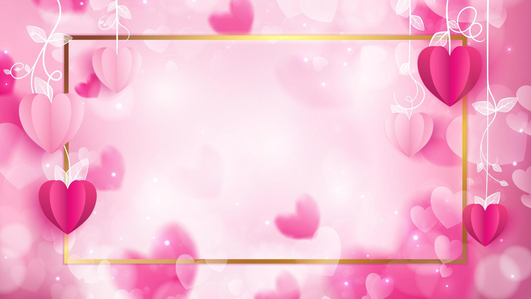 Valentinsgrußfahne mit goldener Grenze vektor