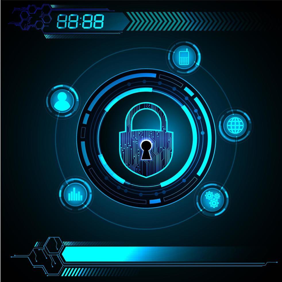 Concepto de tecnología futura del circuito cibernético azul de HUD vector