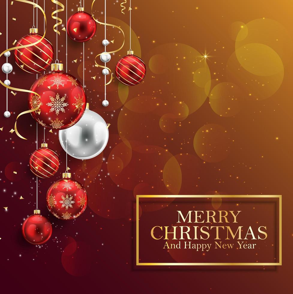 Christmas background with red balls vector