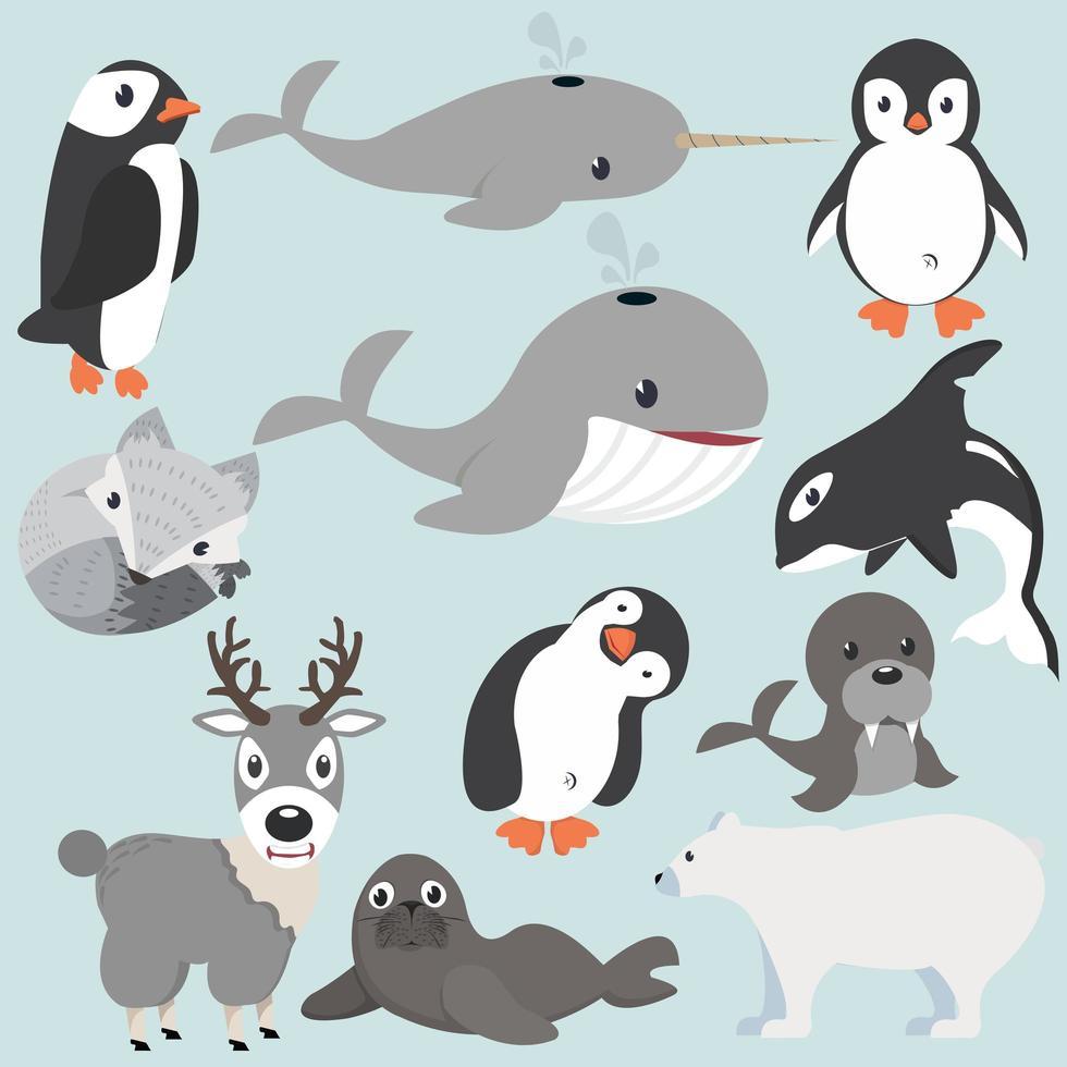 Colección de dibujos animados de animales articos vector