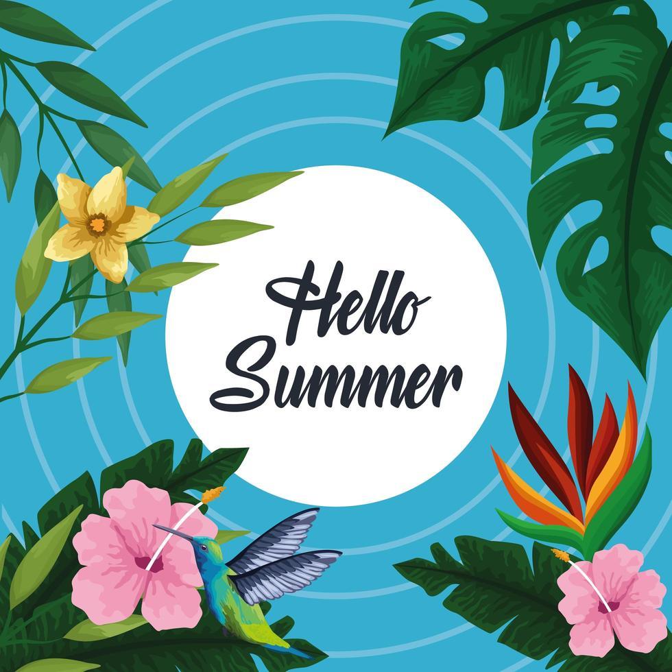 Hola tarjeta de póster de verano vector