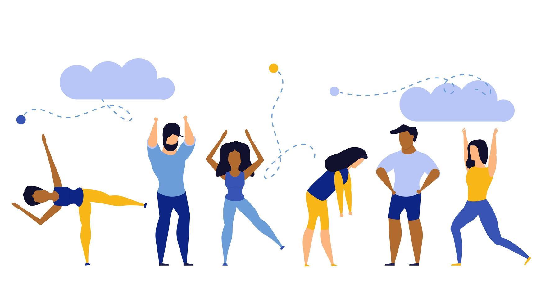 Achievement exercise flat health body mind concept