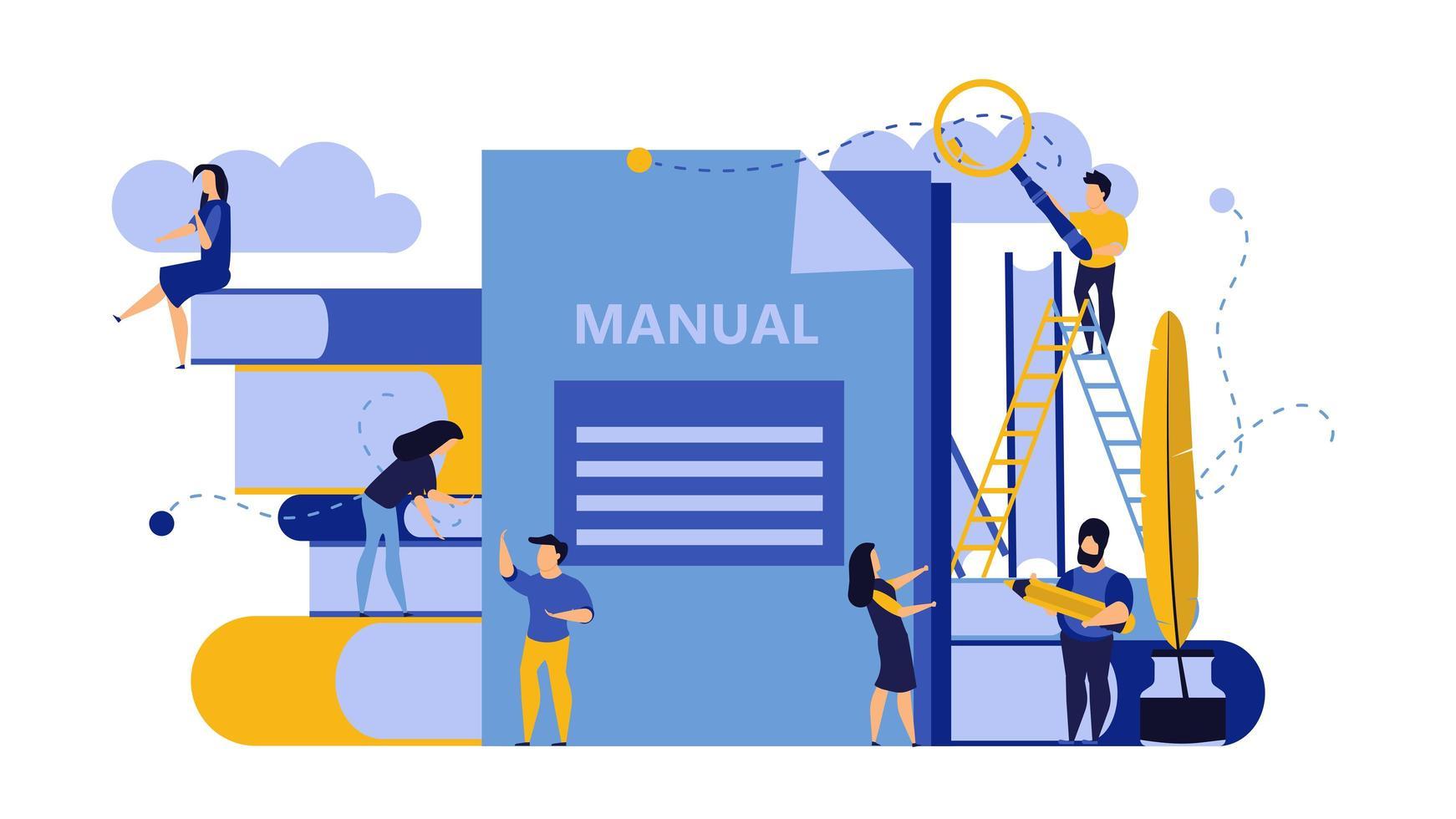 Homem e mulher criam projeto manual de livro de documentos vetor