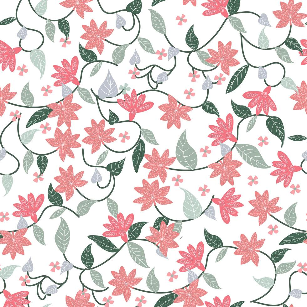 Pink and green botanical floral flower seamless pattern vector