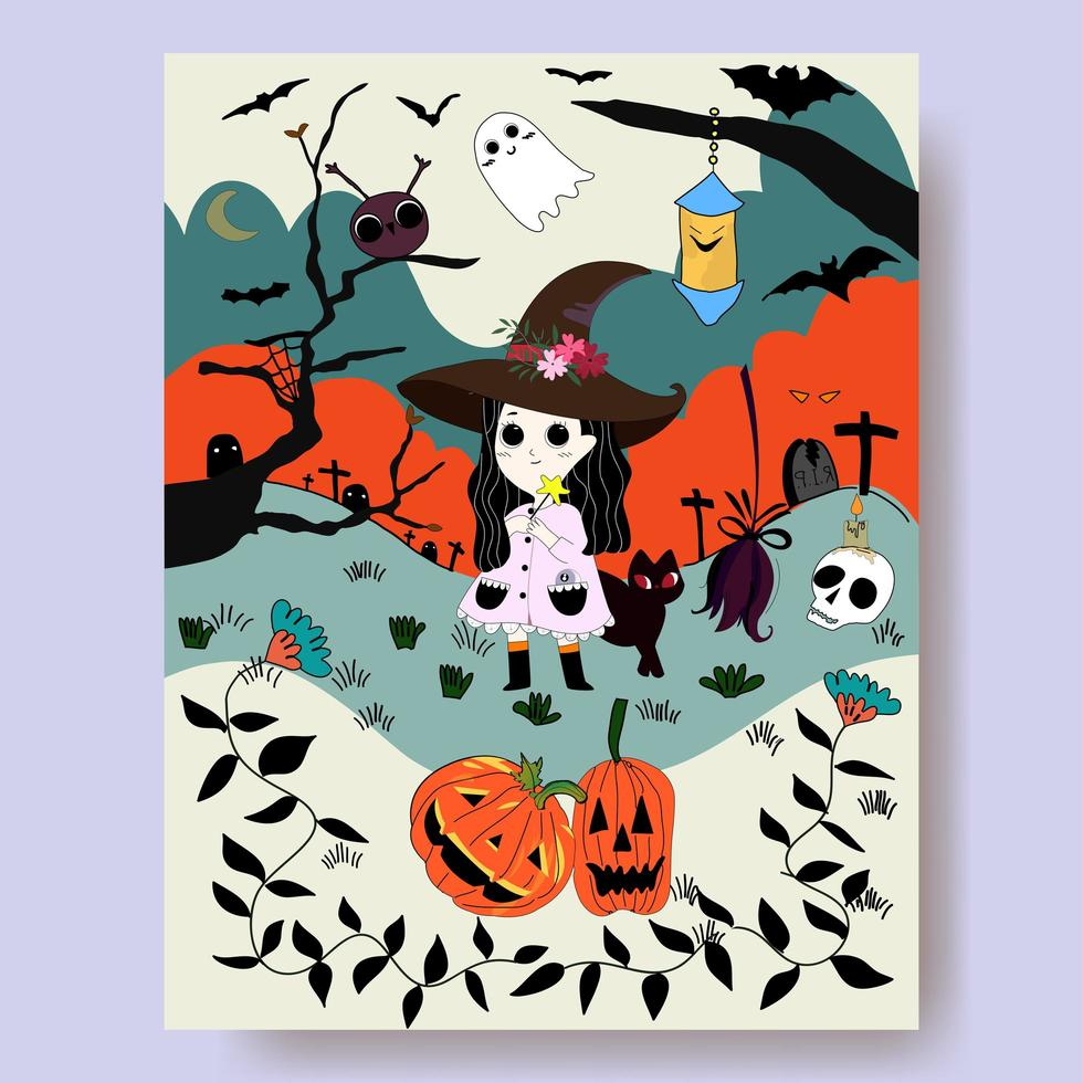 Witch cartoon and halloween night vector
