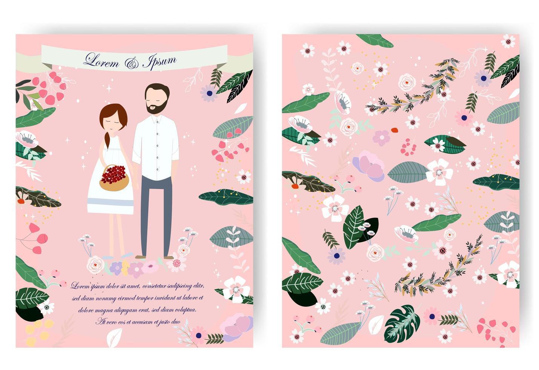Invitación de boda dulce linda pareja de dibujos animados vector