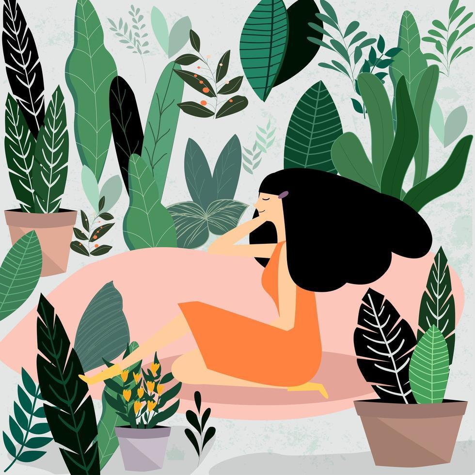 Mujer sentada en el jardín vector