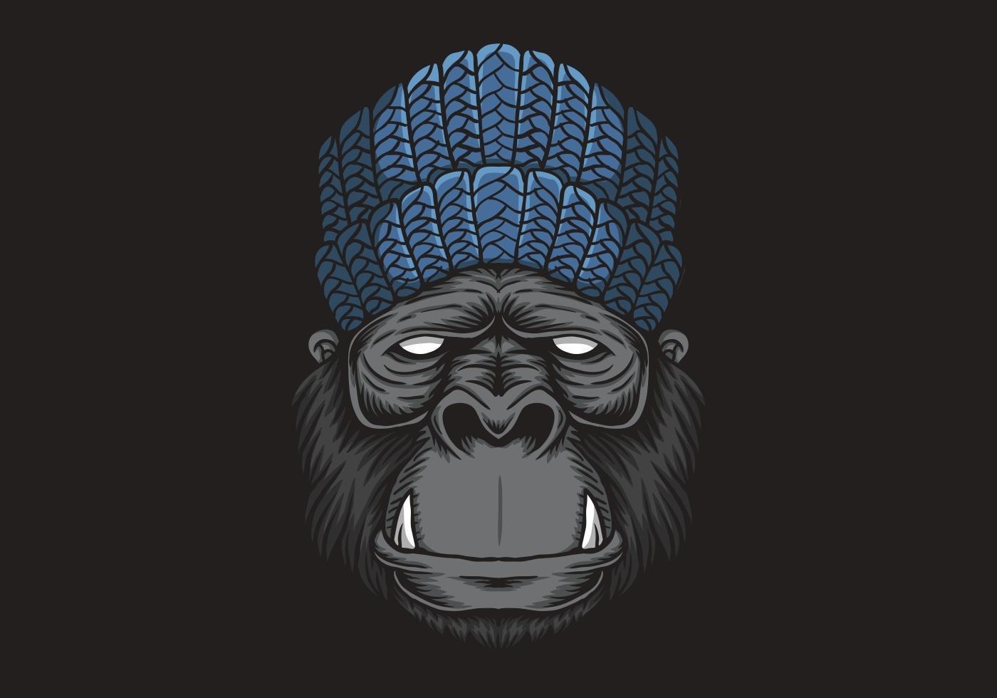 3 Monos Sabios Tatuajes ilustración de vector de cabeza de gorila - descargar