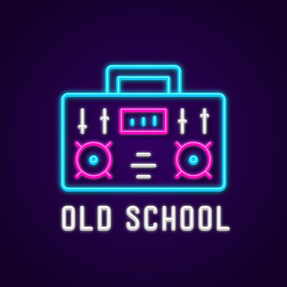 neon old school boombox vector
