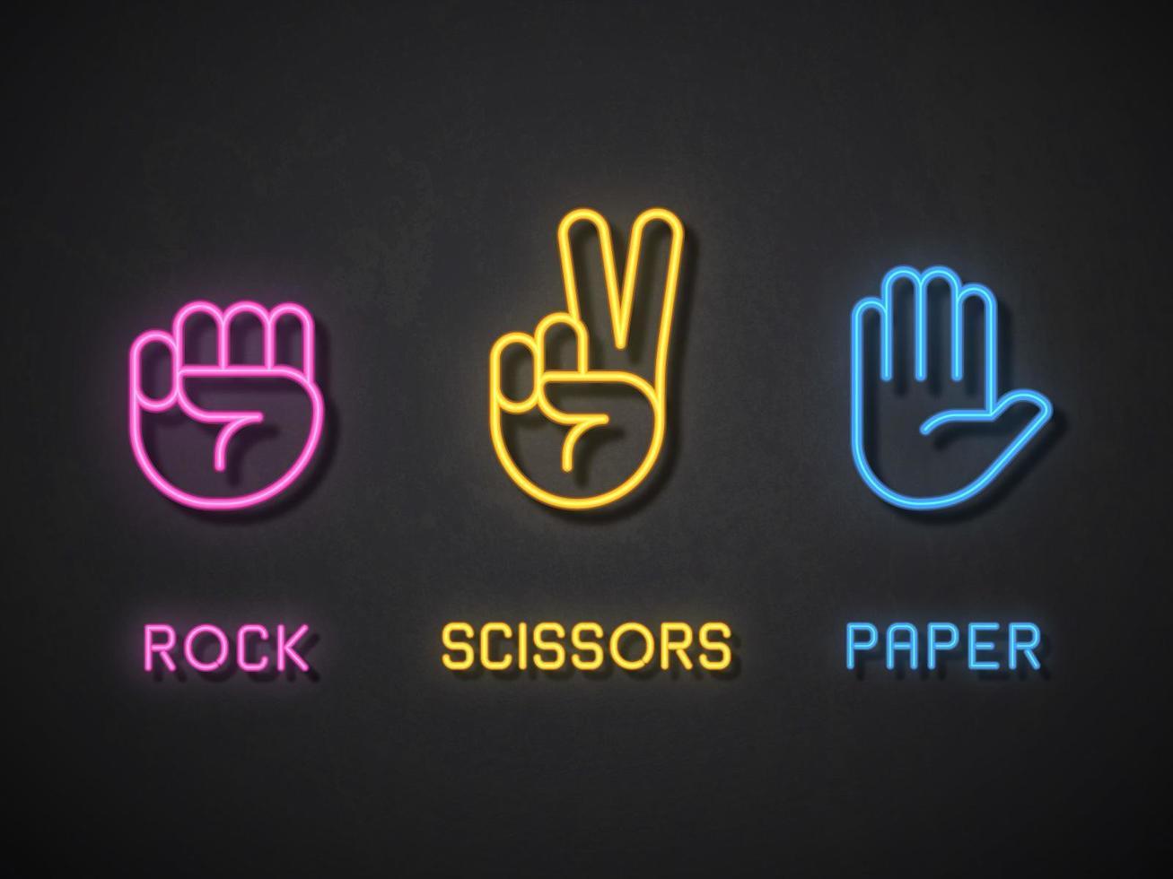 Icone al neon di forbici di carta rock vettore